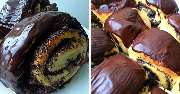 Пышные булочки с маком и вишней: невесомое мягкое тесто и изобилие начинки!