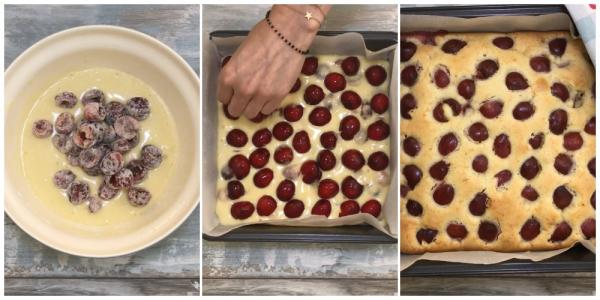Мягкий, свежий и легкий в приготовлении вишневый пирог. Ягоды не тонут и хорошо распределяются в тесте!